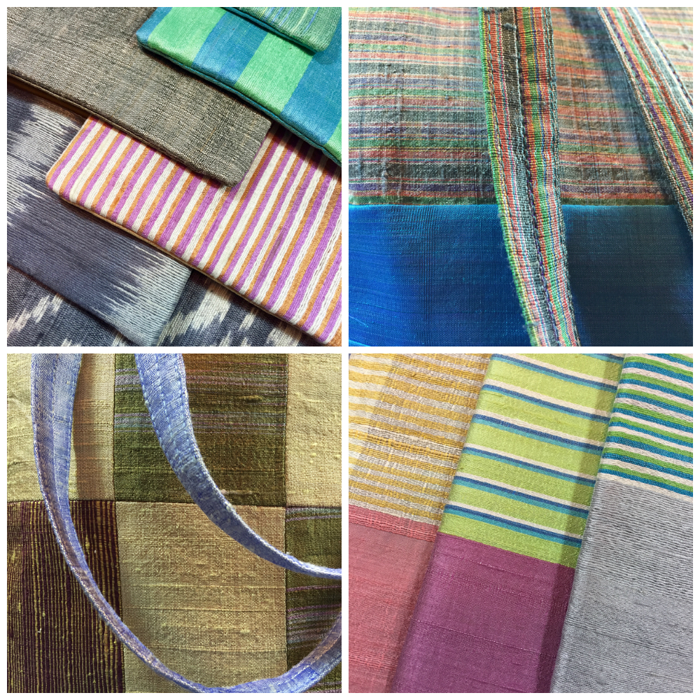 Multi-design and multi-color rough silk hand spun and handwoven accessories: Starting upper left, clockwise: Coin purses sewn by N. Hang; shoulder bags sewn by Vandy; scarves woven by Sok Khim. CAMBODIA