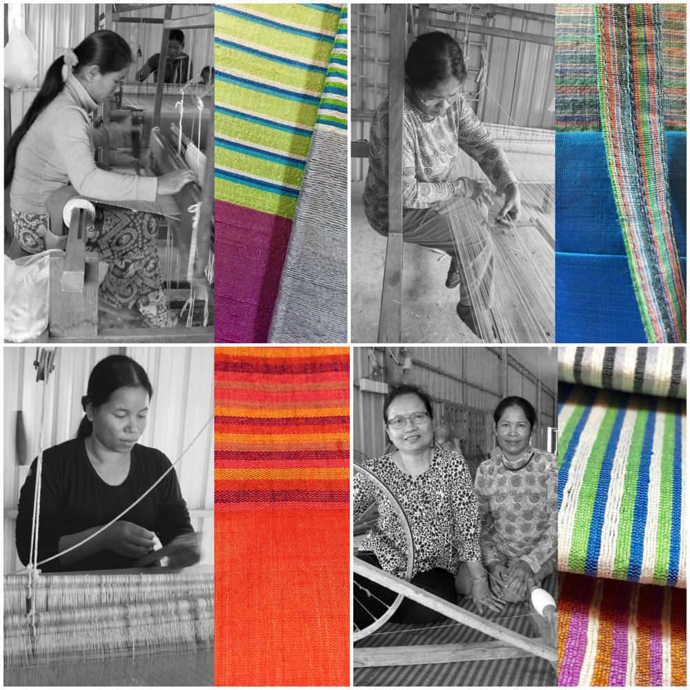 Weavers from a women's cooperative in Krang Thong Village, Cambodia; Bottom right on left: Vibol Sath, founder of Colors of Life Social Enterprise; details of multi-colored designs of hand spun and handwoven rough silk accessories. CAMBODIA