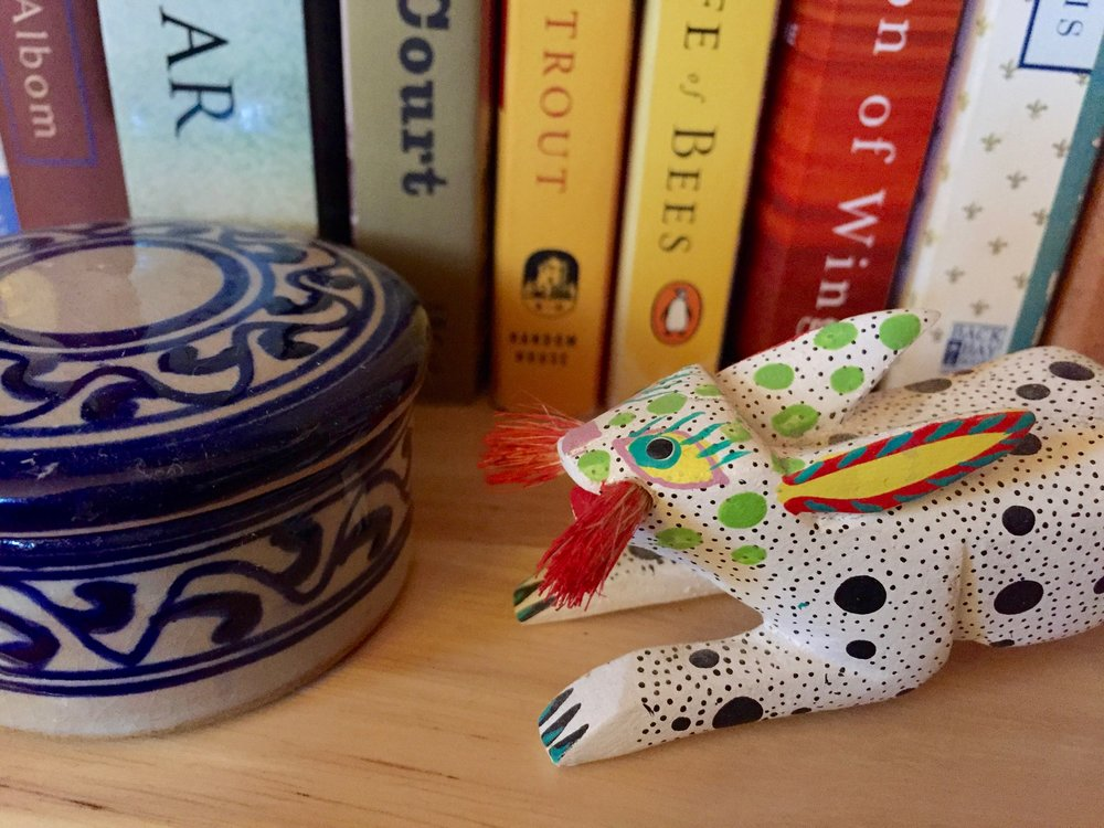 I had conversations with these two handcrafted objects: a ceramic container from Fez, Morocco and an Oaxacan rabbit figurine that was a gift from a dear friend in Mexico