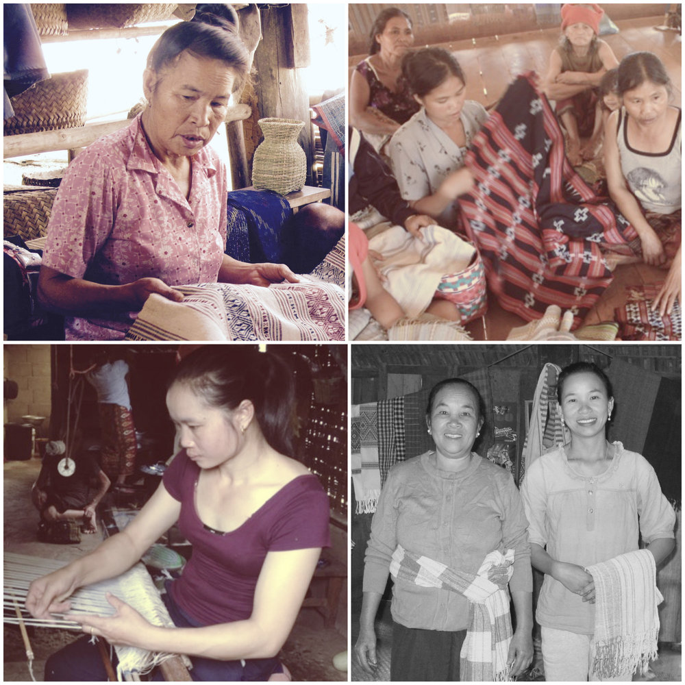 Starting upper left, clockwise: Padee of the Tai Dam ethnic group; women weavers of the Katu ethnic group; Chaban and Noy (mother and daughter) and Sengmany  of the Tai Leu ethnic group (photo credit: MaTeSai for Katu weavers and Sengmany). LAOS