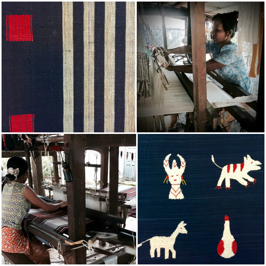 Upper left and bottom right: blankets with traditional motifs and designs reflecting Tiddim Chin culture. Upper right and bottom left: weavers Phyu Win and Sui Te (photo credit of weavers: Chin Chili Myanmar Folk Art). MYANMAR