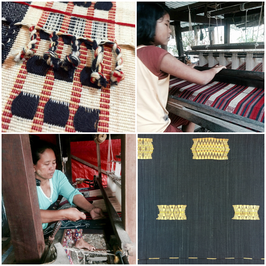 Upper left and bottom right: blankets with traditional motifs and designs reflecting Tiddim Chin culture. Upper right and bottom left: weavers Vung Pi and Oo Man (photo credit of weavers: Chin Chili Myanmar Folk Art). MYANMAR