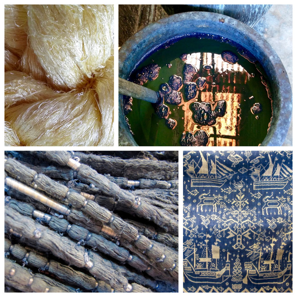 Top left: Khmer golden silk; Top right: naturally cultivated indigo dye; Bottom left: bound hol threads creating a pattern; Bottom right: finished indigo hol pidan, one that was exhibited at the National Musuem of Cambodia.