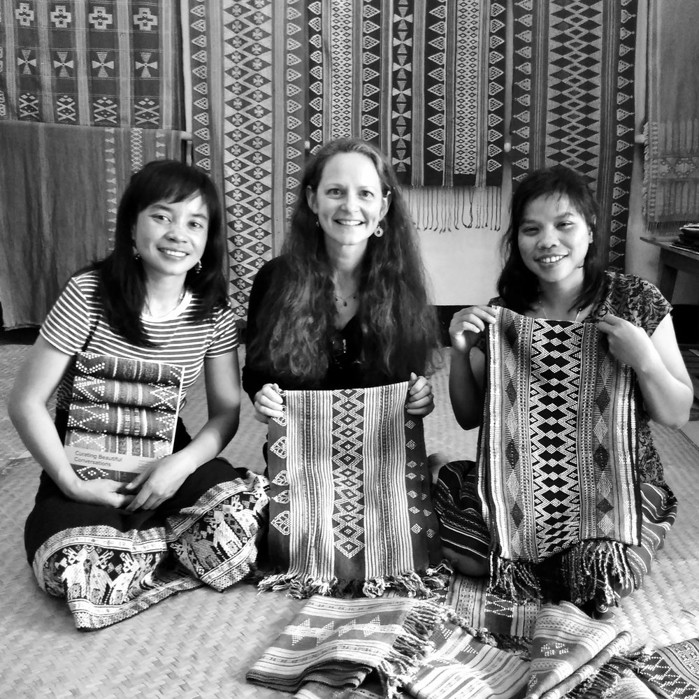 It was such a fun afternoon with  The Weaving Sisters ,Keo and Mone in February 2018. They and their other four sisters are all master Katu weavers, blending innovative adaptions to traditional designs. I asked about the different bead weaving motifs, and they told me what each one meant in their Katu culture - from protection, friendship, a person, lizard legs, star, a mother's love for her daughter, and more.  I gave them a copy of Curating Beautiful Conversations, pointing out the inspired writings of people who wrote based on Katu textile weavings. They really liked their poetry.