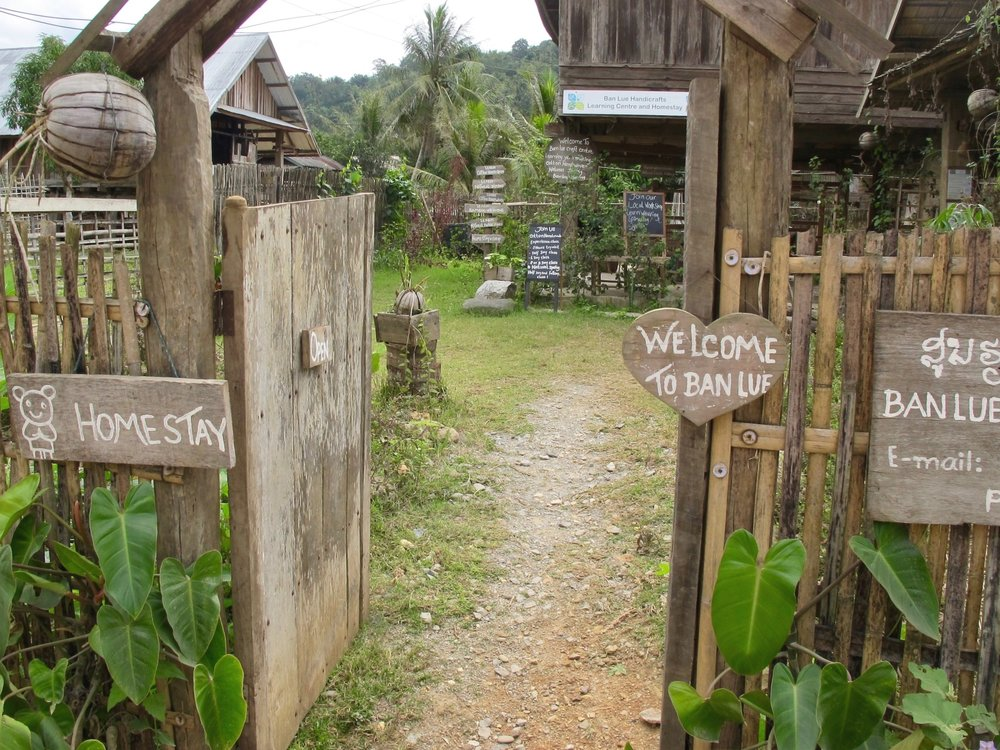 The entrance to Ban Lue Handicrafts & Homestay Center in Nayang Nua, Laos