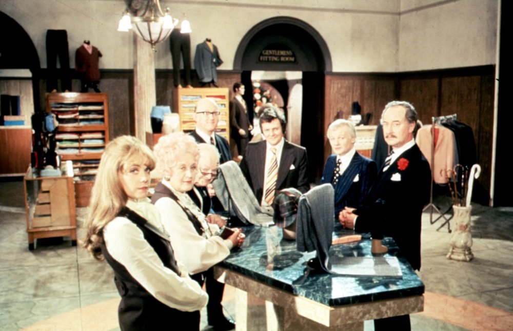 Catherine's dad, Nicholas Smith, as Mr Rumbold with the cast of Are You Being Served?
