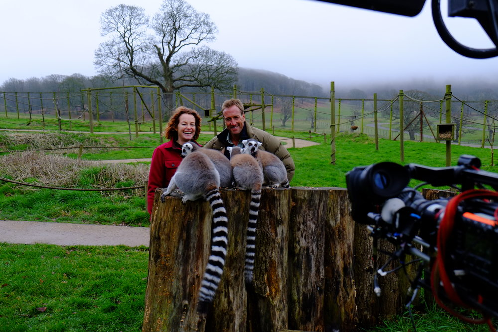 Kate and Ben having fun filming a trio of lemurs