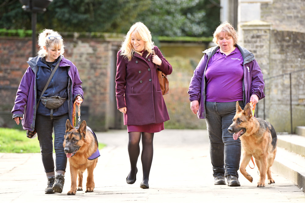 Senior news writer, Katharine Wootton, takes a walk with Anne, Debbie, Karma and Kayra