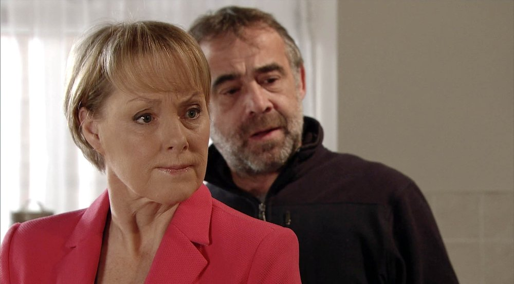 Sally in a recent storyline with Michael Le Vell who plays Kevin Webster