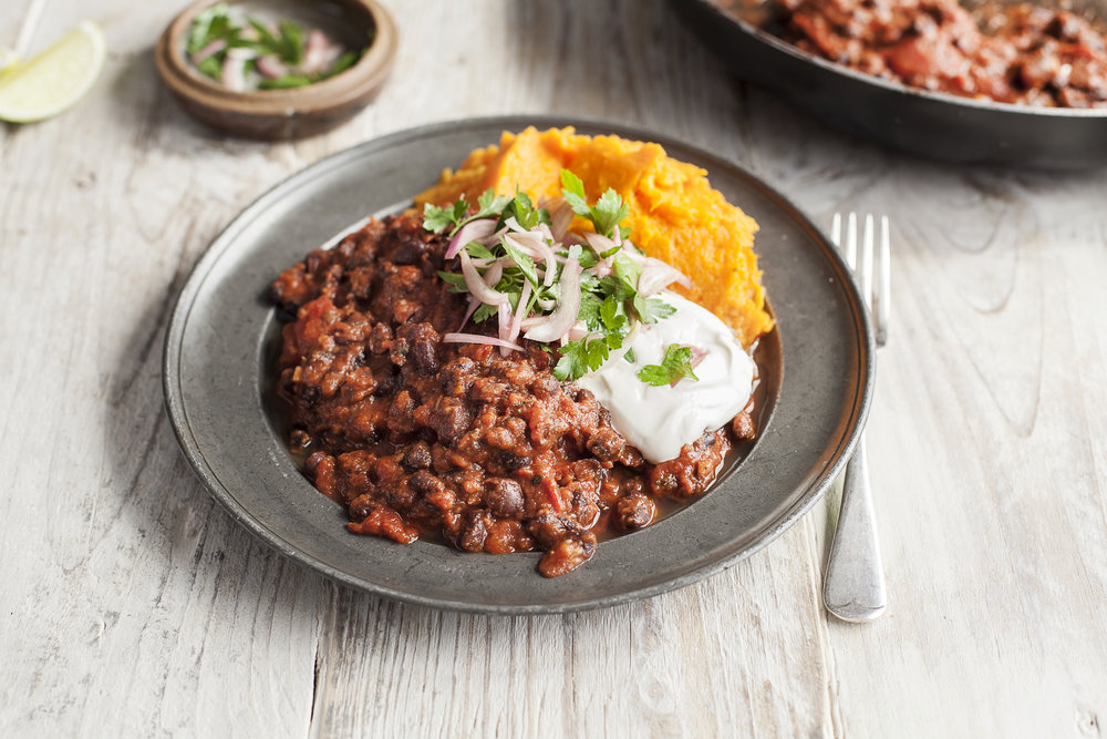 An example of one of the dishes - Black bean chilli with ginger, lime and sweet potato mash