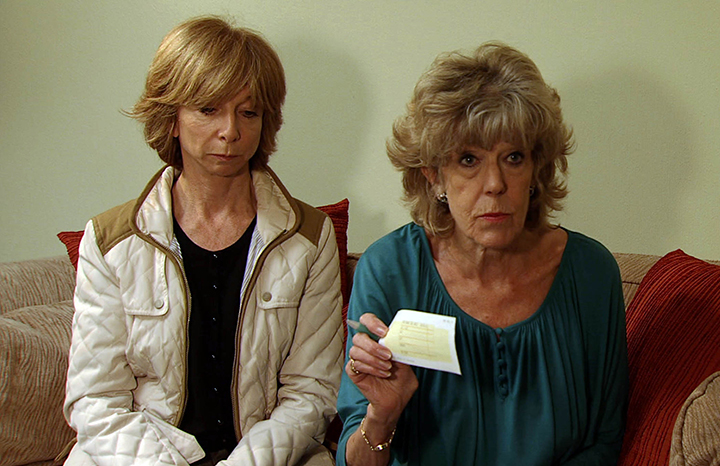Sue as Audrey with on-screen daughter Gail Platt
