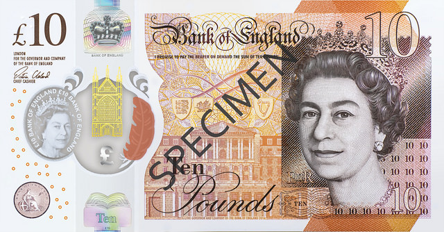 The new tenner is smaller than the paper note