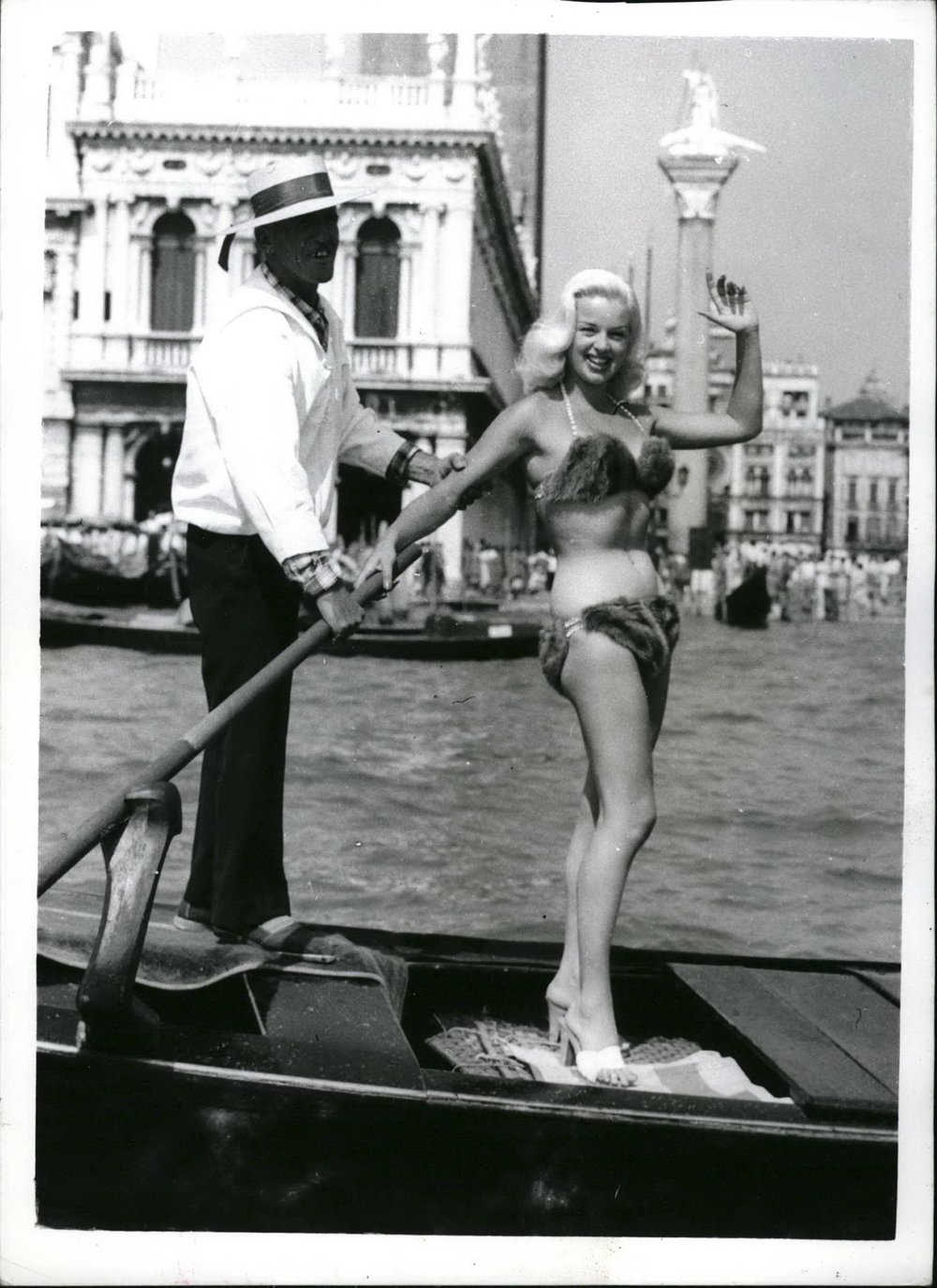 Diana Dors in her mink bikini - not terribly practical!