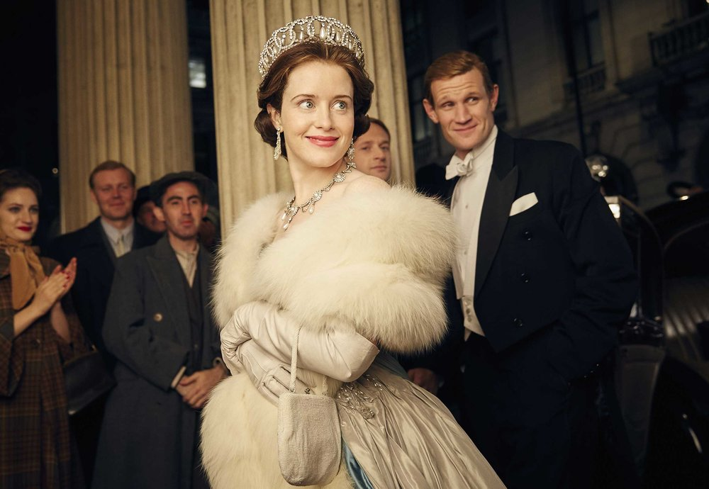 Claire Foy and Matt Smith as Queen Elizabeth II and Prince Phillip in The Crown