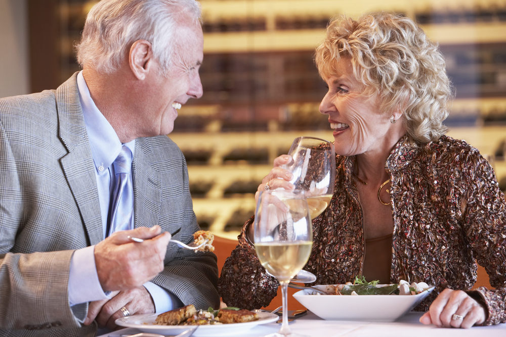 Retirees enjoy eating out with their spouse