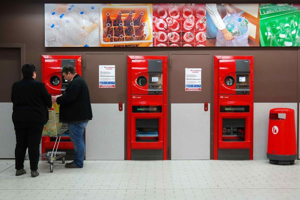 A supermarket bottle deposit station in Germany
