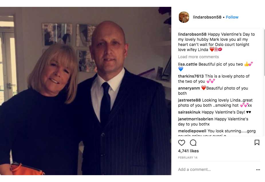 Linda's valentines Instagram post to husband Mark