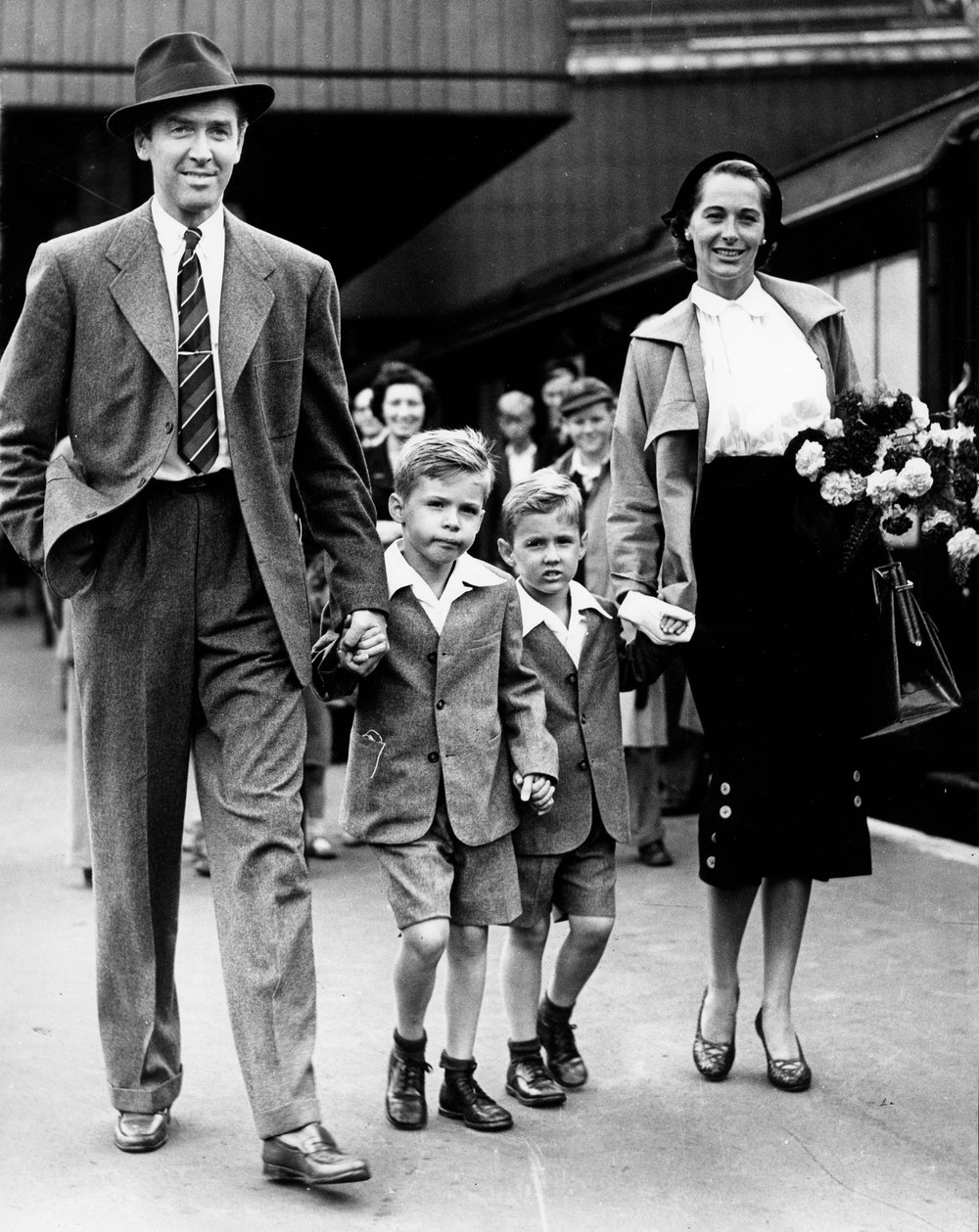 James with his family at Waterloo station in 1950