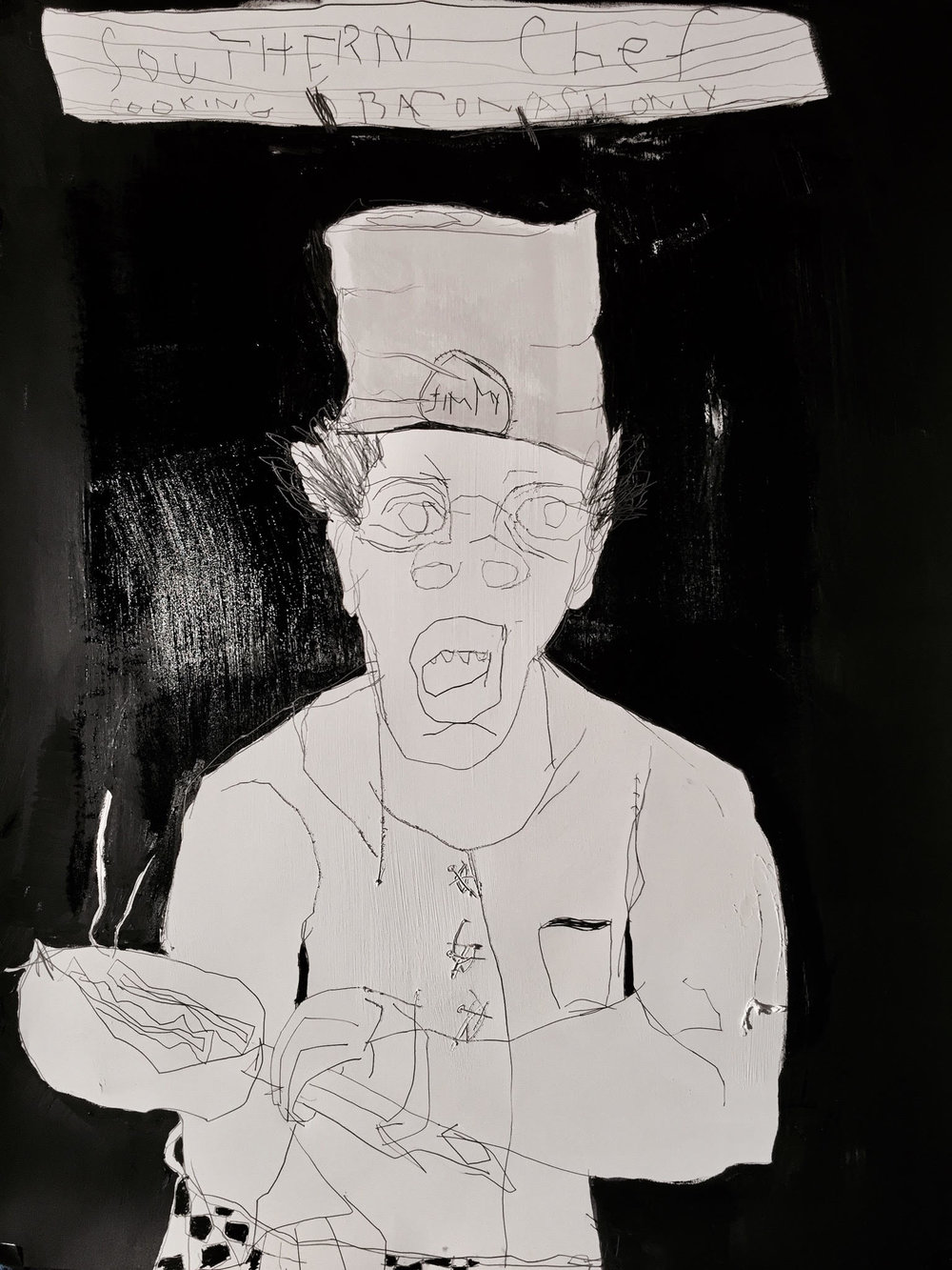 Dana Louise Kirkpatrick,  Southern Chef Cooking Bacon Cash Only ,2016, Oil, color pastel, graphite, and charcoal on Arches paper,50 x 38 ½ inches (127 x 96 cm) © Dana Louise Kirkpatrick. Private collection Chicago, Illinois.