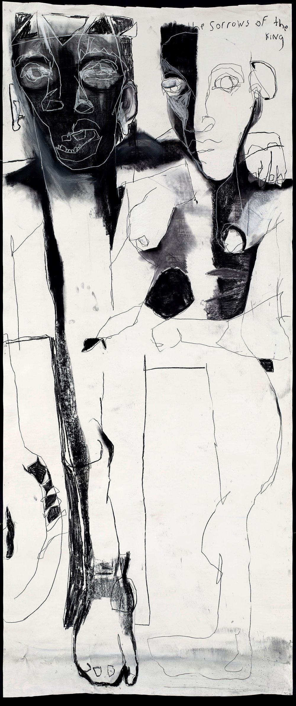 Dana Louise Kirkpatrick,  Devil Be A Paper Tiger,  2013, Charcoal, graphite stick, and conte on paper, 106 x 47 inches (269 x 119 cm), Collection of Ms. Lauren Rosenkranz © Dana Louise Kirkpatrick.