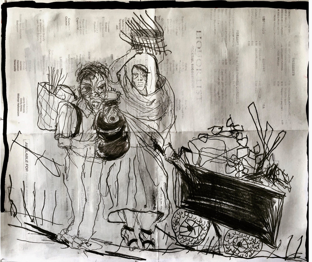 Dana Louise Kirkpatrick,  Aleppo Walkers with Child and Push Cart , 2016, Acrylic, graphite, ball point, and sharpie on paper menu, 17 1/4 x 21 1/4 inches (43.8 x 53.9 cm) framed, Collection of Mr. Raymond Pettibon & Mrs. Aida Ruilova ©  Dana Louise Kirkpatrick.