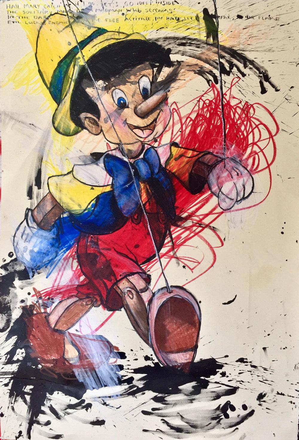 "Dana Louise Kirkpatrick, Change Keep A-Comin' ""La la-da-la la la la la"" , 2017, Sumi ink and Crayola crayon on Arches cotton paper, 30 x 44 in. (76 x 111cm) © Dana Louise Kirkpatrick."
