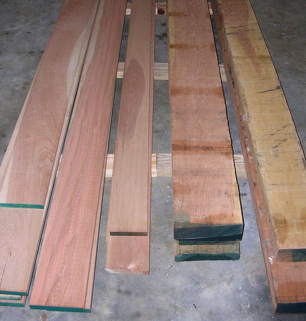 Rough cut lumber of various quarters