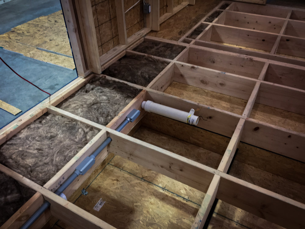 Floor cavity for solar electric battery bank and on-board water storage.