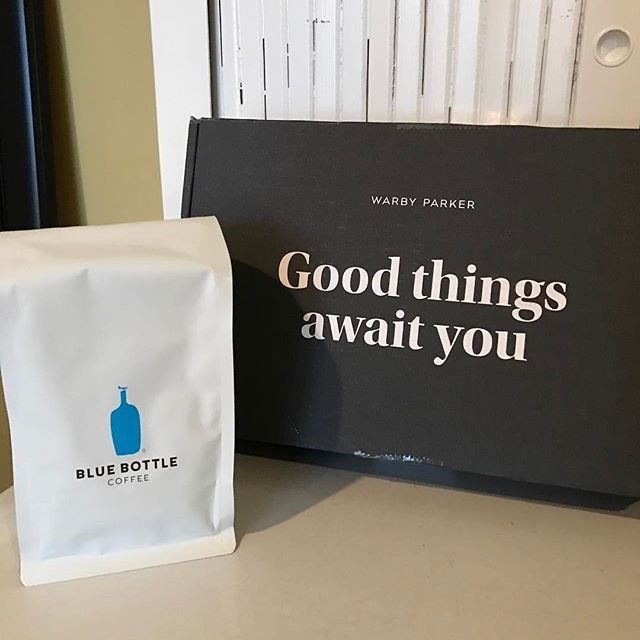 Having a good mail day 📦 🤗@warbyparker @bluebottle #bluebottlecoffee #bestcoffee #coffeesnob #warbyparkerhometryon