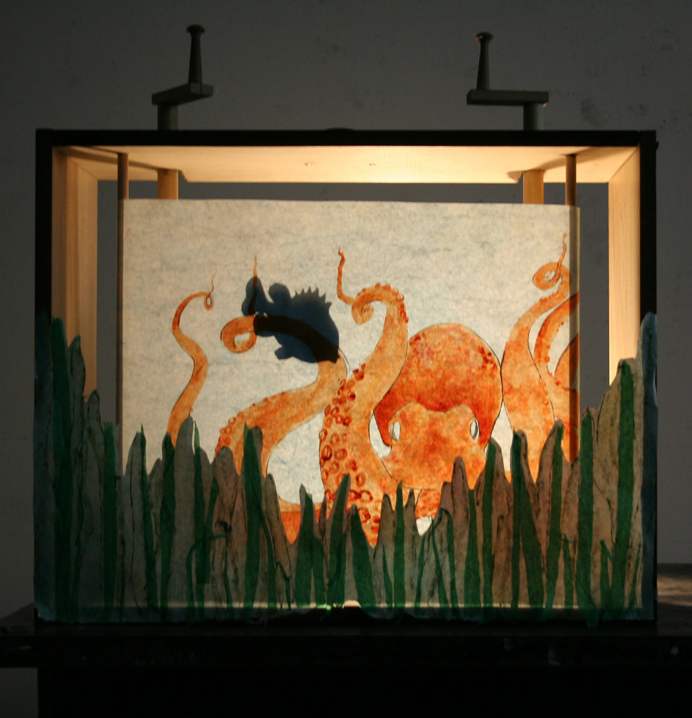 "Drawing II  18"" tall paper scroll  Watercolor, Shadow Puppetry, ""Crankie""/Moving Panorama Box"