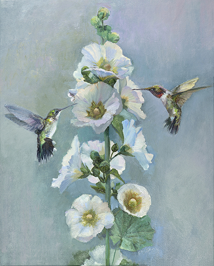 Hollyhock Hummers - SOLD