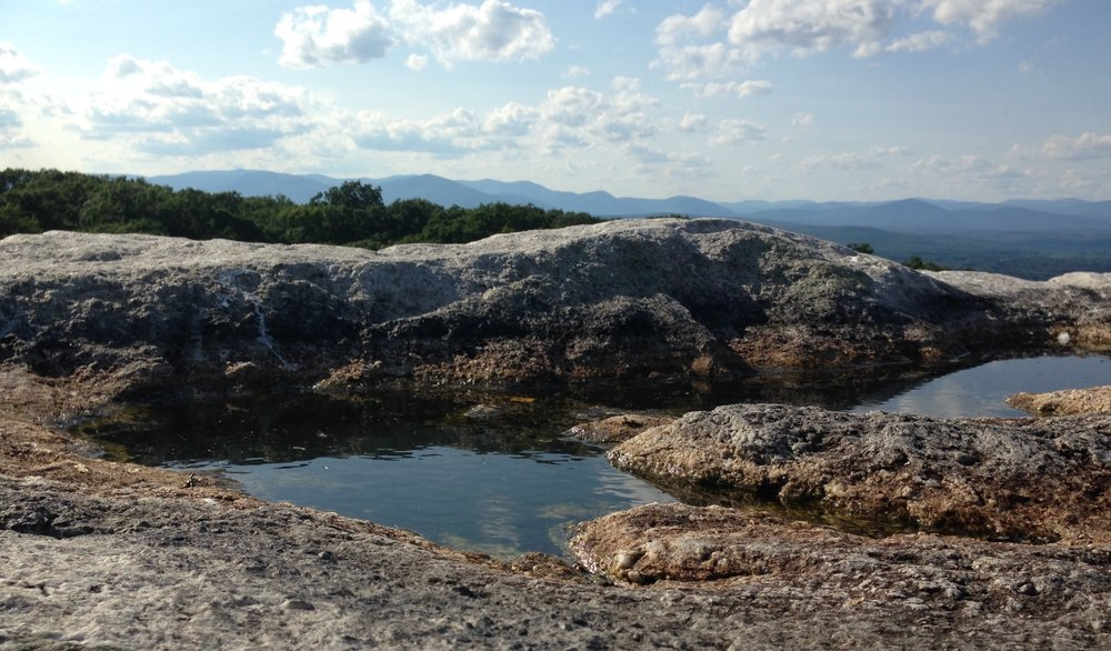 Day 3, part two: I lay on the rock next to these pools and meditate for about 10 minutes, staring up at the expansive blue sky, the pale crescent moon rising, and birds in flight. Big, Bright, Resourcing Life!