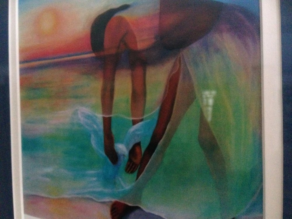 Words In Motion: images of reflection*  Because I don't have a recording of me moving, I have used this image of a woman dancing at the edge of an ocean, gathering Resource from water and spirit as a reflection of my movement experience.