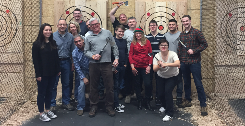 The team relaxing throwing razor-sharp axes in our spare time. Safety-first, of course!