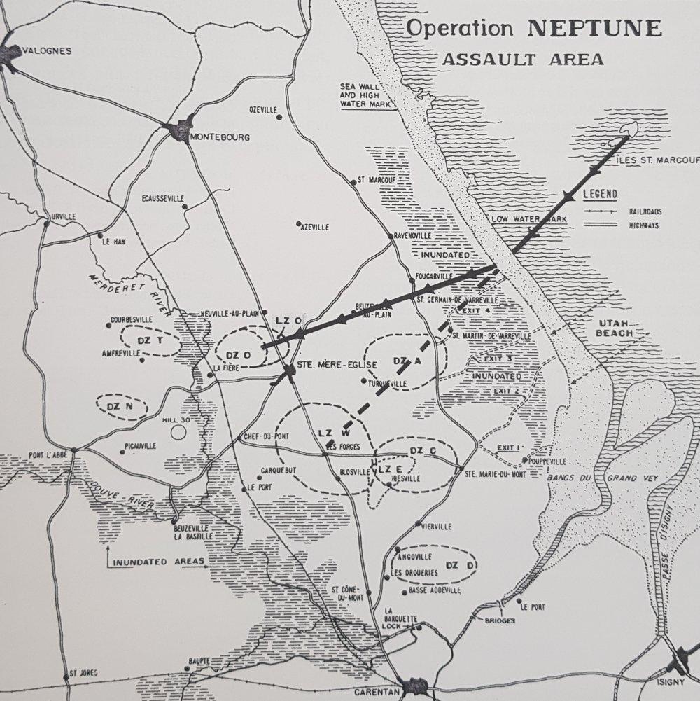 Plan de vol du DC3 au dessus de la Normandie le 6 juin 1944. Photo : X. Collection Yves Tarriel.