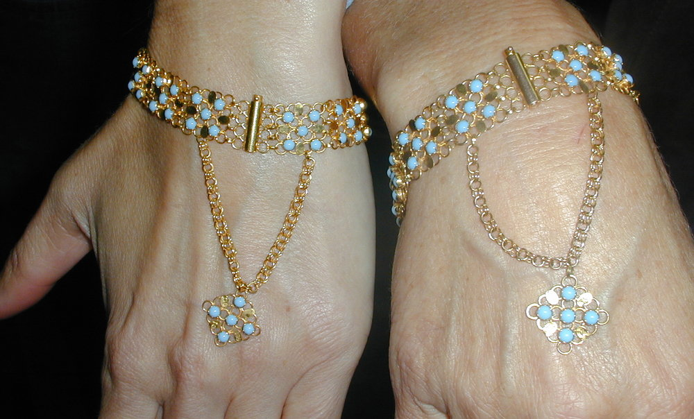 Armenian designed gold and Egyption turquoise bracelets from Mardin, Turkey.