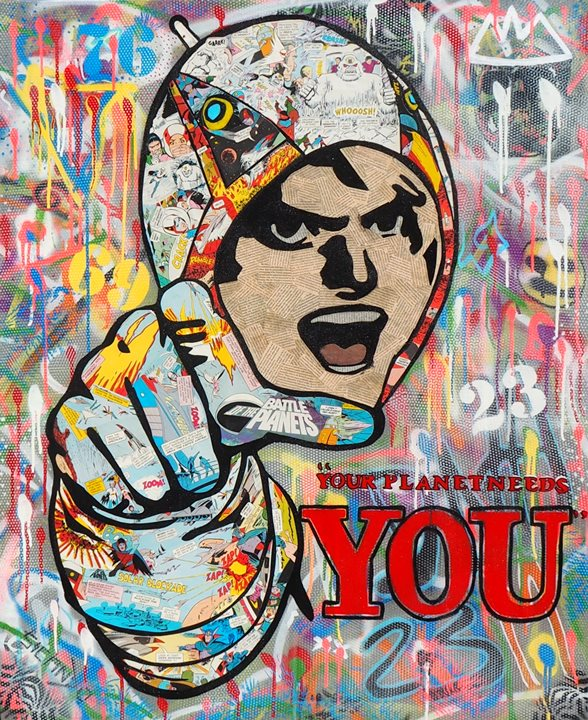 """Your Planet needs You"" Mixed media acrylic spray paint and 1970s cartoon collage on canvas 85cm x 103cm.  @sicandotoo"