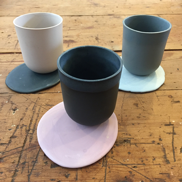 Slip Cast Teacups and Coasters Semi Porcelain, matte glaze