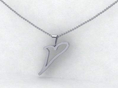 Sissy's Log Cabin White Gold Wheezy Heart Necklace