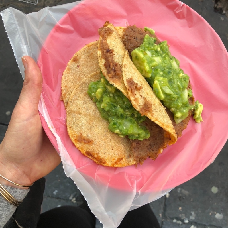 Legit street tacos with chunky, perfect and free guacamole