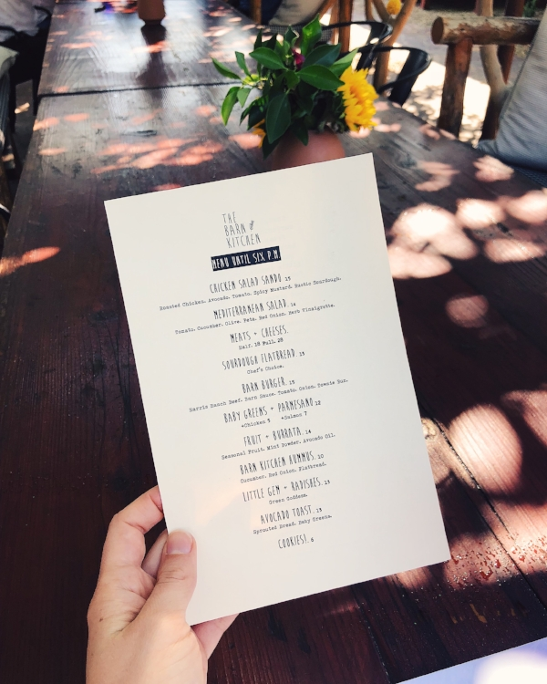 Barn Kitchen Menu