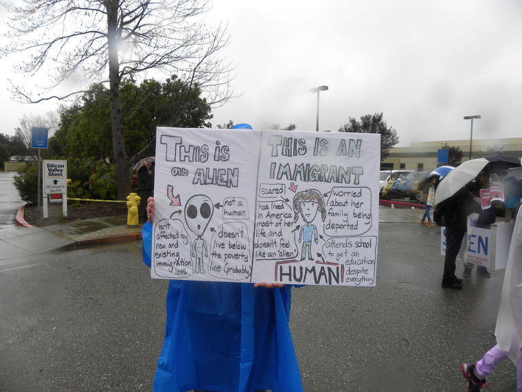 A protester in Morgan Hill at the rally.