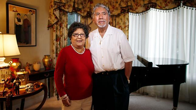 Portrait of Carmen and Alcario Castellano at their home in Saratoga, Calif., on Wednesday, Dec. 18, 2013. Carmen's sister was an artist and son is a musician, the family has always been involved in the arts. The Castellanos won $141 million dollars in the lottery in 2001. They set up the Castellano Family Foundation to support and promote Latino arts and culture. (Josie Lepe/Bay Area News Group)