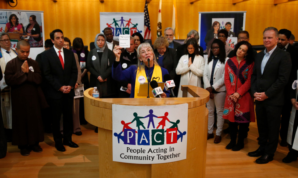 "In this file photo, Rev. Nancy Palmer Jones, of the First Unitarian Church of San Jose, speaks during a press conference with public officials and faith leaders with the grassroots organization PACT at City Hall in San Jose, Calif., Friday, April 6, 2017. PACT launched a county-wide ""solidarity network"" aimed at protecting and defending ""immigrants who are living in fear under the threat of deportation."" (Patrick Tehan/Bay Area News Group)"