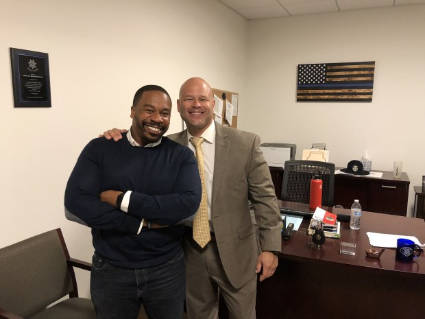 Pastor Jason Reynolds, left, of the Emmanuel Baptist Church in San Jose, and San Jose police Chief Eddie Garcia pose for a photograph Nov. 19, 2017 at the SJPD substation. (San Jose Police Dept.)