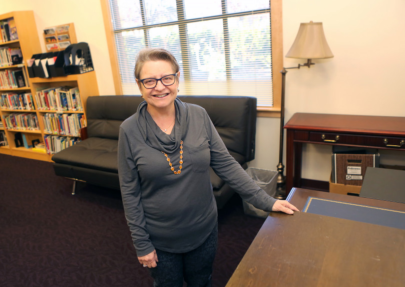 Congregation Shir Hadash member Debbie Coutant is one of the people who has been working to set up a sanctuary at the synagogue that can be used by an individual who is in danger of being deported. Although they'll be sleeping on a futon in the synagogue's library, Coutant said they'll be safe at the synagogue as long as they stay inside. (George Sakkestad/Staff Photographer)