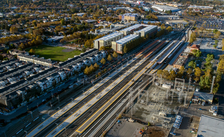 (LiPo Ching/Bay Area News Group)  An aerial view of the area of Google's proposed transit-oriented village near the Diridon Station, on the western edges of downtown San Jose.