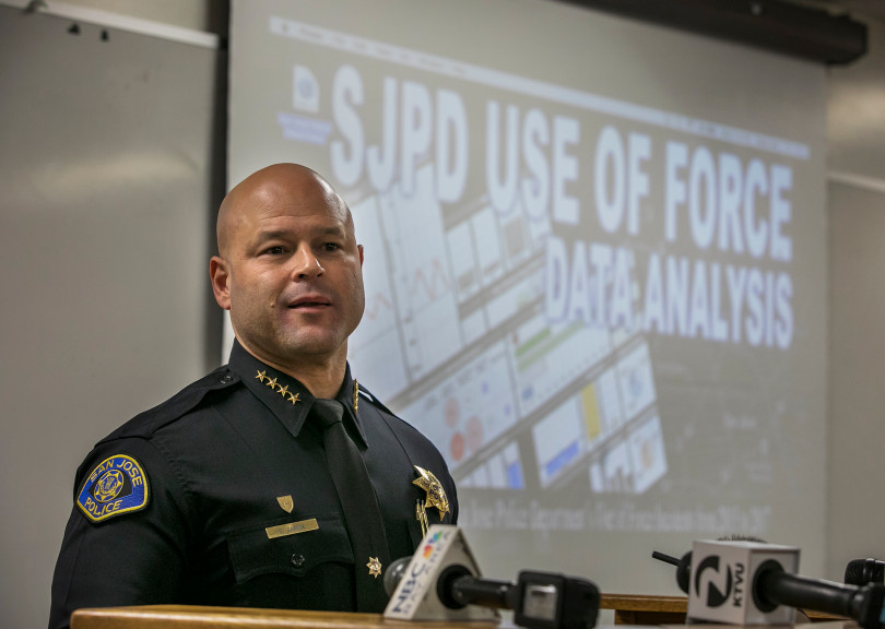 San Jose Chief of Police Eddie Garcia talks about the results of a use-of-force analysis at police headquarters in San Jose, California, on Wednesday, January 10, 2018. (LiPo Ching/Bay Area News Group)