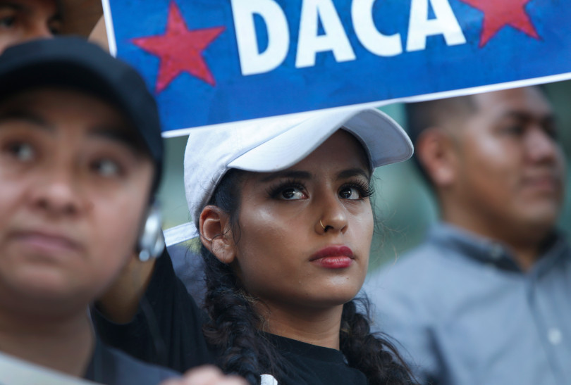 DACA recipient Flor Martinez attends a rally following President Trump's rescindment of the program, Monday, Sept. 5, 2017, in San Jose, Calif. (Karl Mondon/Bay Area News Group)