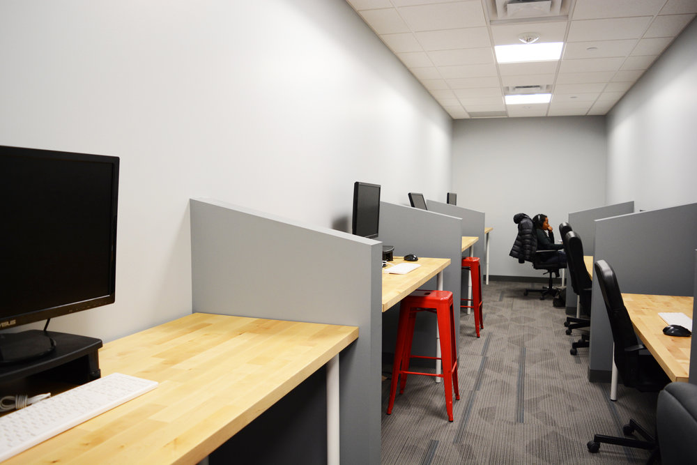 "In many cases, student projects are a group effort but when the case arises where individual study time is needed, we found a way to accommodate. Formerly a storage area, we rededicated the space to ""quiet study"" where the standard hum of student life can be blocked out."